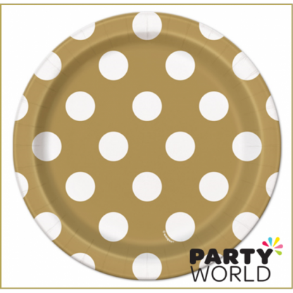 Gold Dot Paper Plate - 7inch (8)
