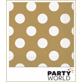 Gold Dot Beverage Napkins (16)
