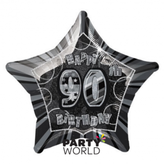 Glitz Birthday 90th Helium Foil Balloon Black