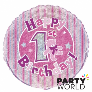 1st Birthday Pink Teddy Bear Prism Foil Balloon - 18inch