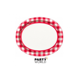 Red & White Check Oval Plates (8)