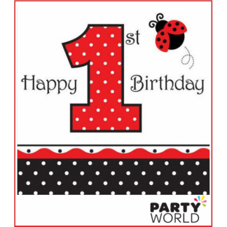 Ladybug Fancy First Birthday Luncheon Napkins (16)