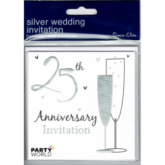Silver 25th Anniversary Invitations & Envelopes (6)