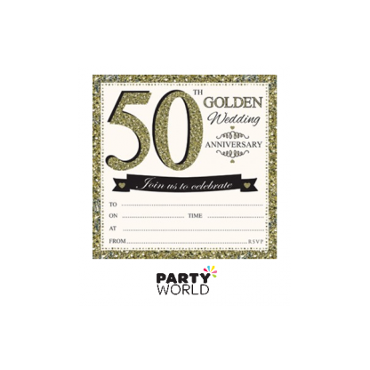 50th Golden Wedding Anniversary Invitations & Envelopes (10)