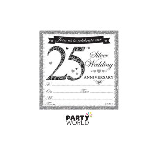 25th Silver Wedding Anniversary Invitations & Envelopes (10)