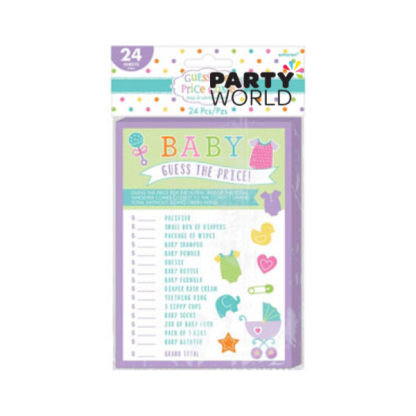 Guess The Price Baby Shower Game