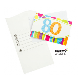 Bright And Bold 80th Birthday Invitations (8)