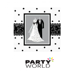 Black & White Wedding Luncheon Napkins (16)