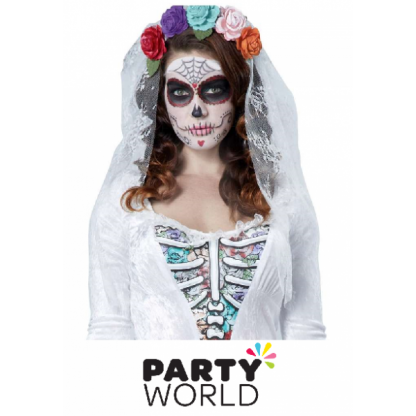 Day of the Dead Bride Veil - White