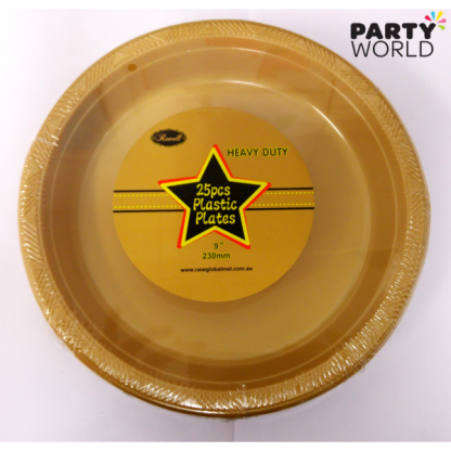 Gold Plastic Plates 9in (25)