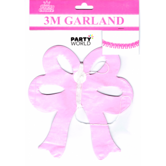 Pink Bow Paper Garland 3 m