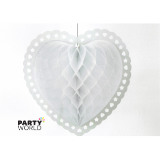 White Honeycomb Lantern Heart 8inch
