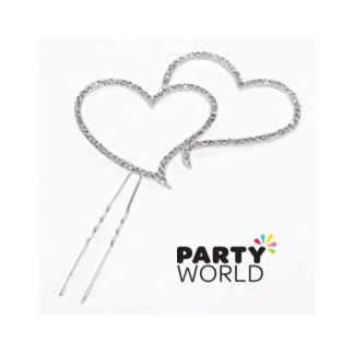 Hearts Diamante Cake Topper 13cm