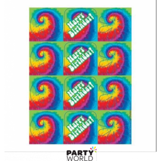 Tie Dye Birthday Stickers (4 sheets)