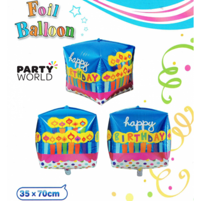 Happy Birthday Candles Giant Cube Foil Balloon