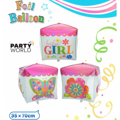 Baby Girl Giant Cube Foil Balloon