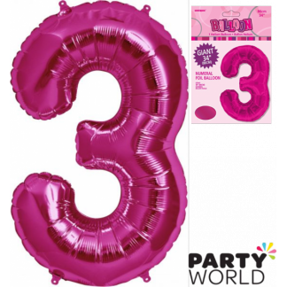 Giant Hot Pink Foil Number Balloon - 3
