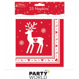 Christmas Red Reindeer Napkins (25)