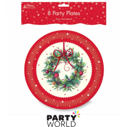 Red Wreath Paper Plates (8)