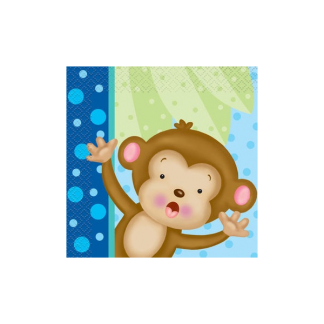 Baby Boy Monkey Beverage Napkins (16)