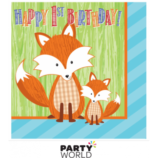 Forest Fox - Happy 1st Birthday Napkins (16)