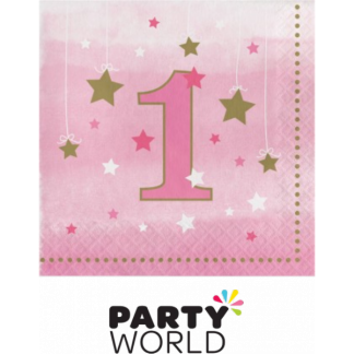 One Little Star Girl Beverage Napkins (16)