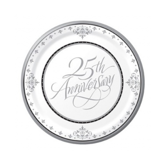 25th Anniversary Silver Paper Plates 7in (18)