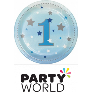 One Little Star Boy Paper Plates - Blue 7in (8)
