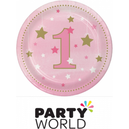 One Little Star Girl Paper Plates - Pink (8)