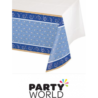 Blue Bandana Cowboy Plastic Table Cover