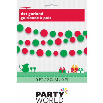 Dot Garland - Red and Green (2.7m)