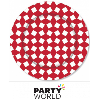 Party Paper Plates Random Check - Red (8)