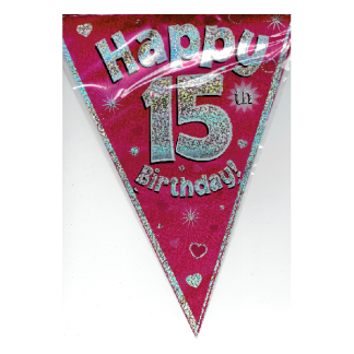 Happy 15th Birthday Pink Bunting