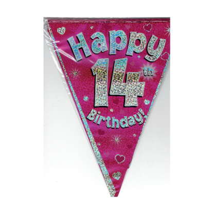 Happy 14th Pink Birthday Bunting