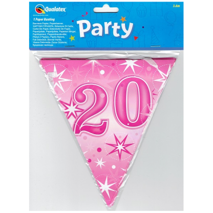 20th Pink Paper Flag Banner
