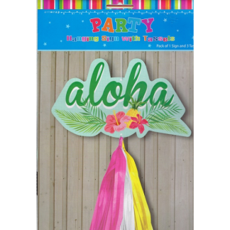 Aloha Hanging Sign With Tassels