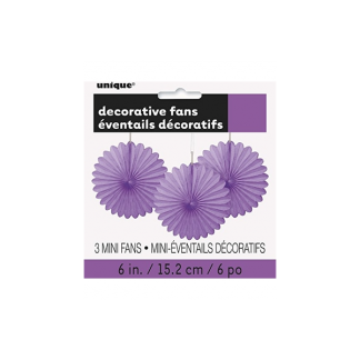 Mini Paper Fans (3) - Purple