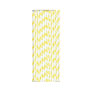 Lemon Yellow Print Straws (25)