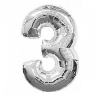 Giant Silver Foil Number Balloon - 3