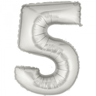 Giant Silver Foil Number Balloon - 5