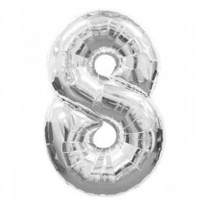 Giant Silver Foil Number Balloon - 8