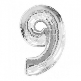 Giant Silver Foil Number Balloon - 9