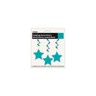 Star Whirl Hanging Decorations (3) - Caribbean Teal