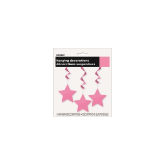 Star Whirl Hanging Decorations (3) - Hot Pink