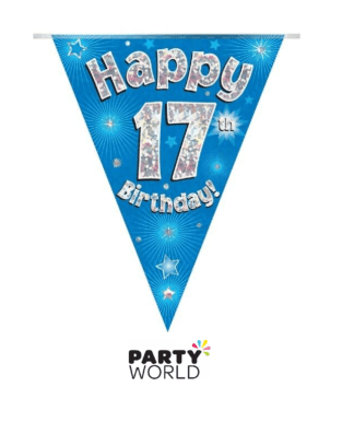 17th birthday banner blue