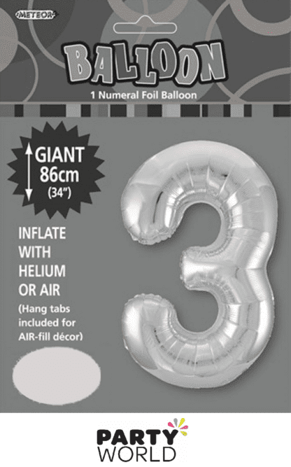 3 giant foil number silver
