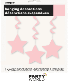 baby pink hanging star decorations