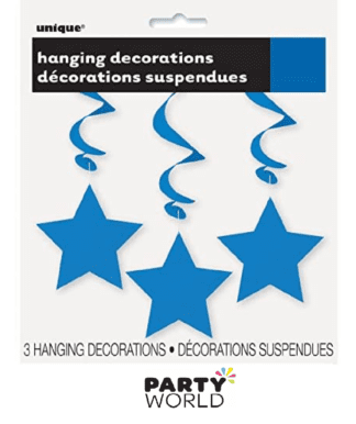 blue hanging star decorations