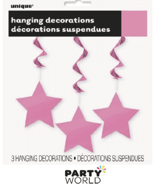 pink hanging star decorations