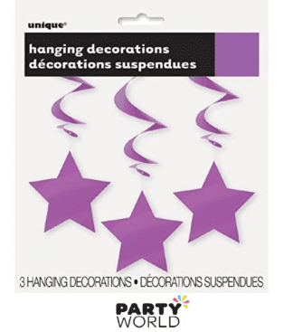 purple hanging star decorations